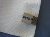 1970s Cufflinks - Blue Jewelled Squares in Silver Mesh Design